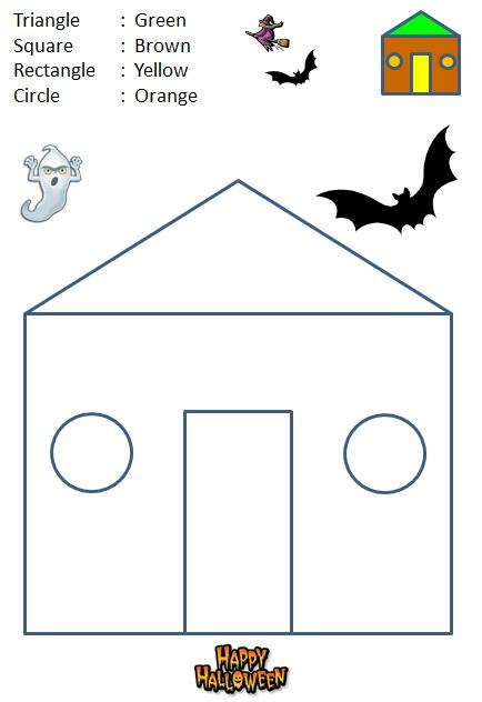 math worksheet : halloween worksheet  color by shape  kindergarten : Halloween Math Worksheets For Kindergarten