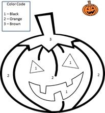 color by number single digit math worksheet sample6 - Halloween Worksheets For 1st Grade